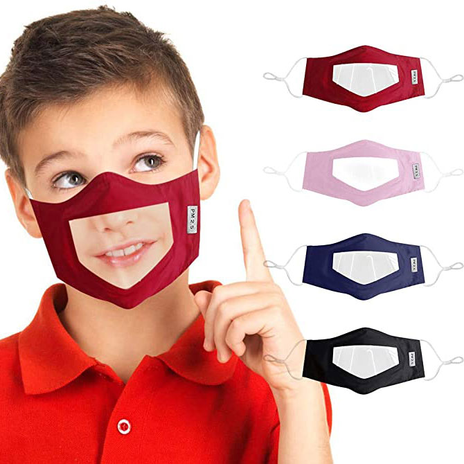 Kids Face Mask for Hearing Impaired and Deaf with Clear Visible Window