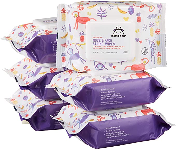 Mama Bear Saline Nose and Face Baby Wipes