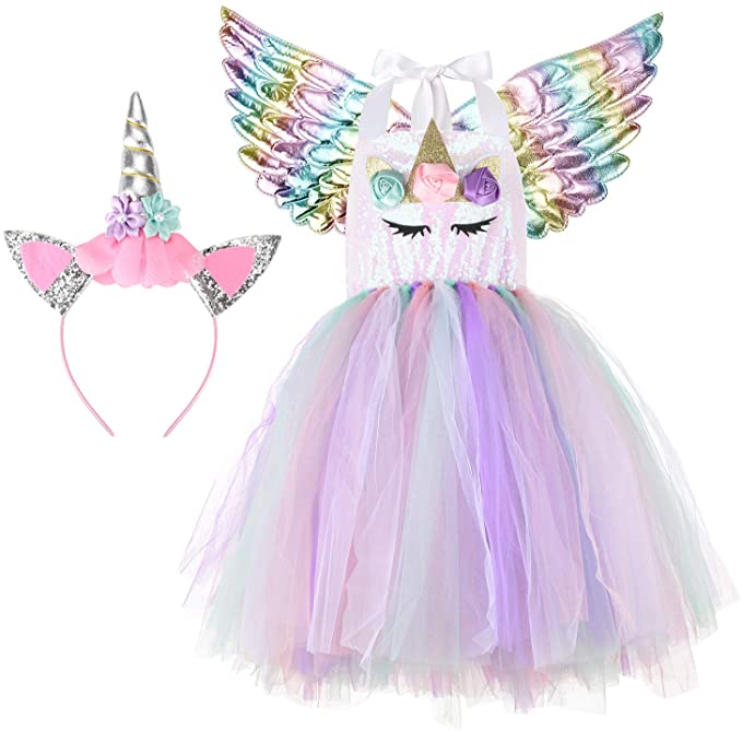 Unicorn Costumes for Girls with Headband and Wings