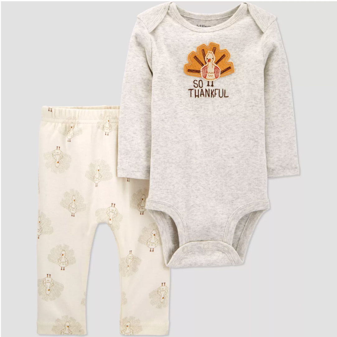 Baby Organic Cotton Thanksgiving Pants and Bodysuit Set