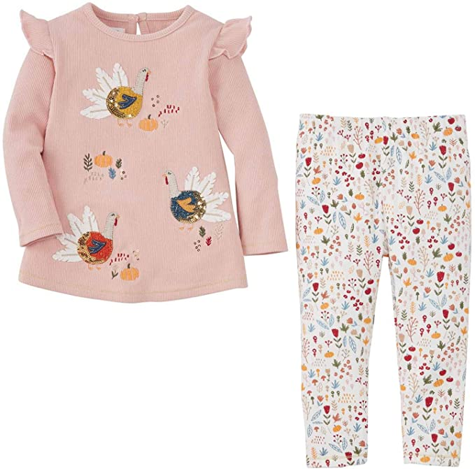 Mud Pie Girls' Turkey Tunic and Legging Set