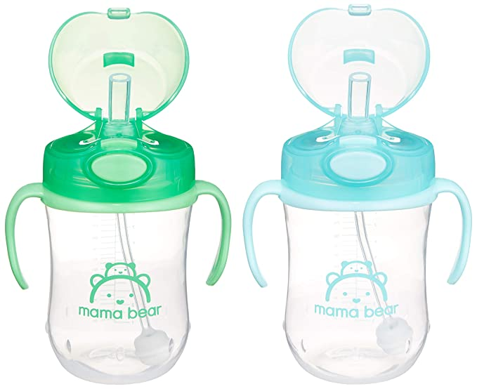 mama bear weighted sippy cups in green and blue