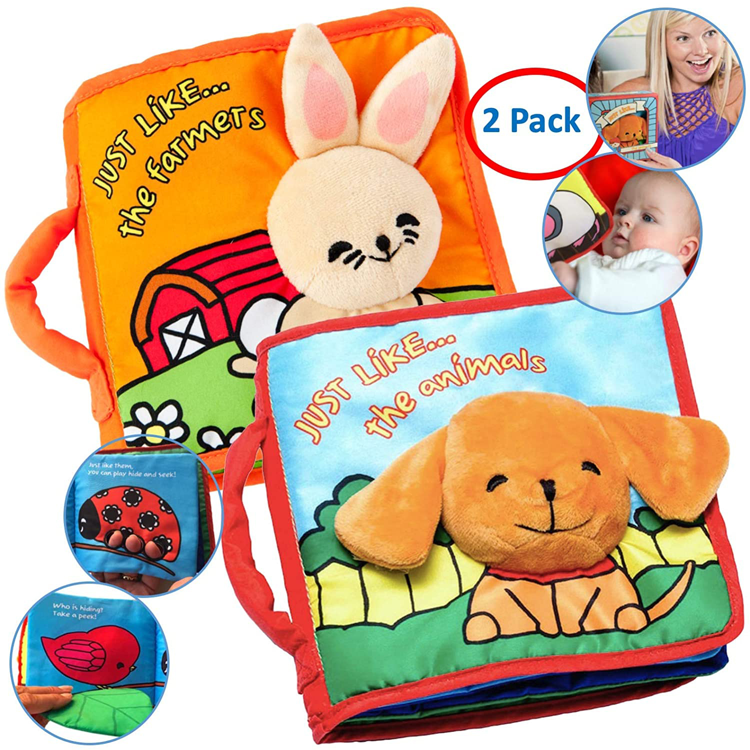 Best Baby Toy for Teething and Reading: ToBe ReadyForLife Crinkly Cloth Books (Set of 2)