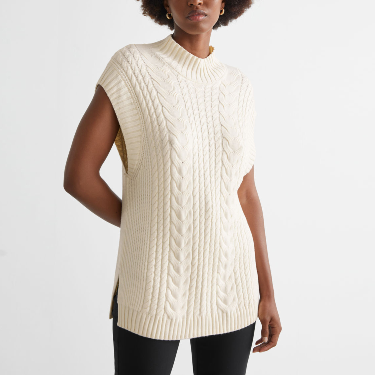 & Other Stories Oversized Cable Knit Vest