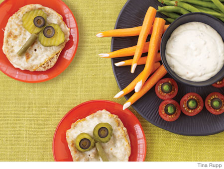 Easy Halloween Recipes Vegetables and Dip and Sandwiches