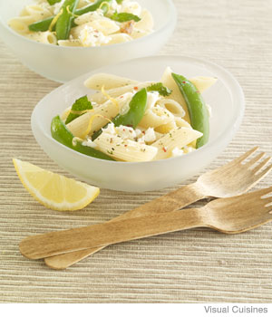 Pasta with Sugar Snap Peas, Feta and Mint