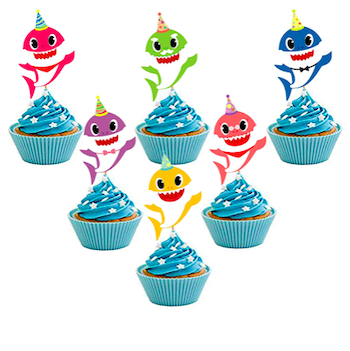 30 Piece Baby Shark Cupcake Toppers