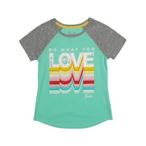 Barbie 'Love' Embroidered Sequin Raglan Graphic Tee