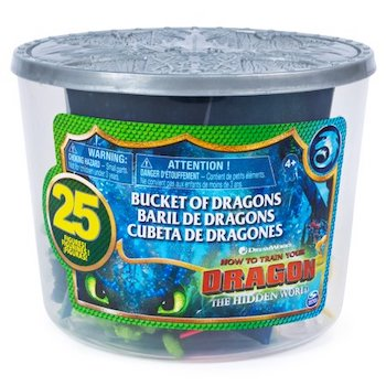 How to Train Your Dragon Toys Bucket of Dragons, 25 Dragon and Viking Figures in Storage Bucket