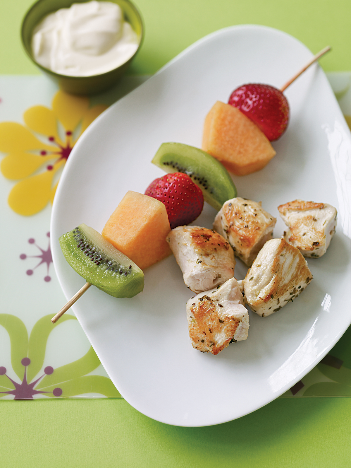Chicken and Fruit Kebabs