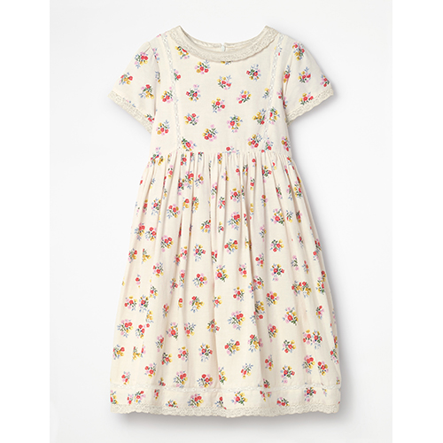 Boden Nostalgic Printed Easter Dress for Girls with Lace Collar and Floral Print
