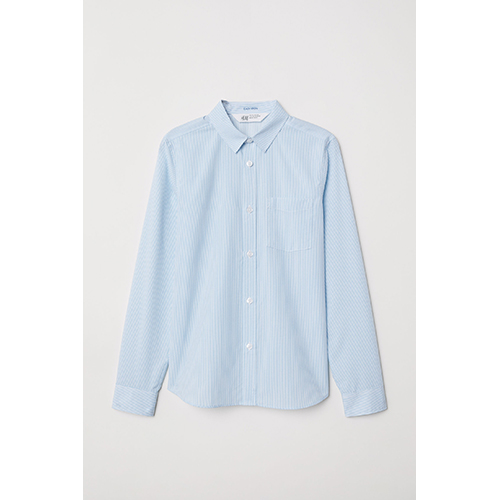 H&M Easy-Iron Striped Shirt Blue and White Stripes Button Up