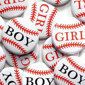 Baseball Gender Reveal Buttons