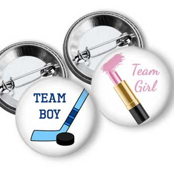 Hockey and Lipstick Gender Reveal Buttons
