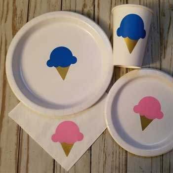 Ice Cream Gender Reveal Plates
