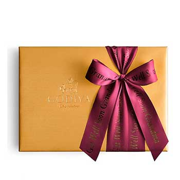 Godiva Assorted Chocolate Gold Gift Box with Personalized Ribbon