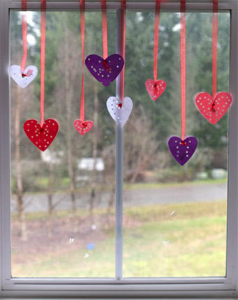 Valentine's Day Craft hole punched hearts