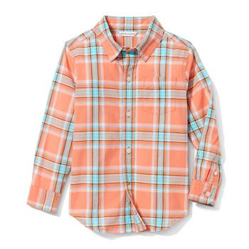 Janie and Jack Madras Plaid Shirt in Peach Plaid