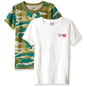 LOOK by crewcuts Boys' 2-Pack Print/Solid Short Sleeve T-Shirt