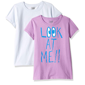 LOOK by crewcuts Girls' 2-Pack Graphic/Solid Short Sleeve T-Shirts