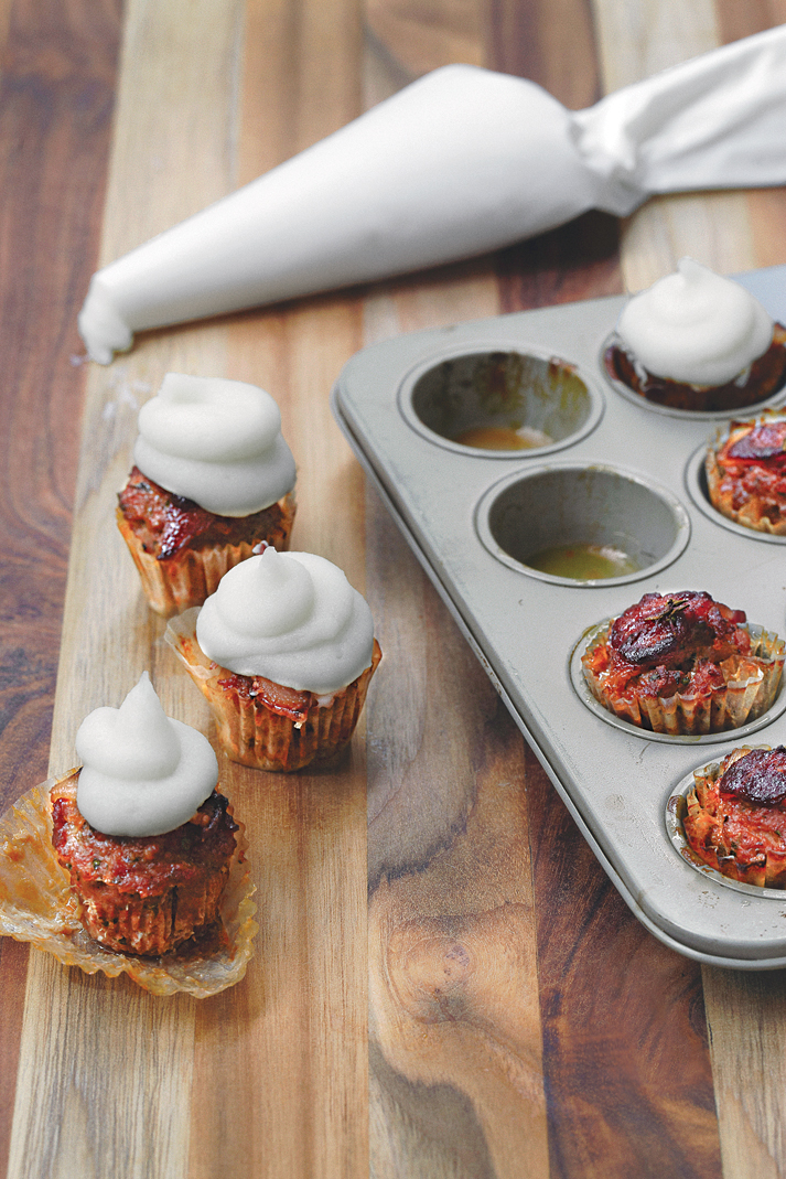 Barbecue-Turkey Meatloaf Cupcakes with Mashed Potato Frosting Recipe