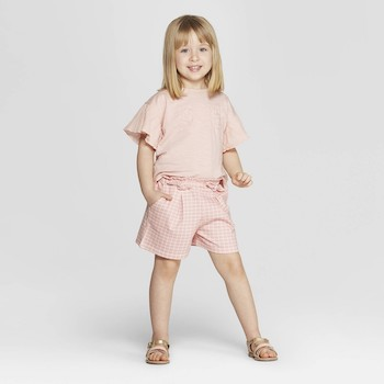 Mila & Emma Clothing Line Mila & Emma Toddler Girls' 2-Piece Short Sleeve T-Shirt and Shorts Set
