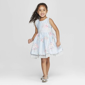 Mila & Emma Clothing Line Mila & Emma Toddler Girls' Blue Floral Print Sleeveless A-line Dress
