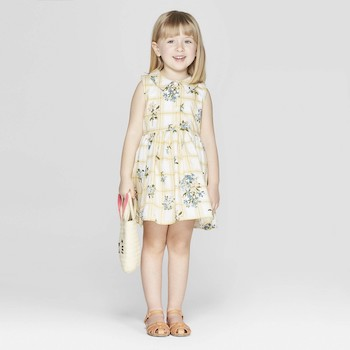 Mila & Emma Clothing Line Mila & Emma Toddler Girls' Floral Print Sleeveless A-line Dress