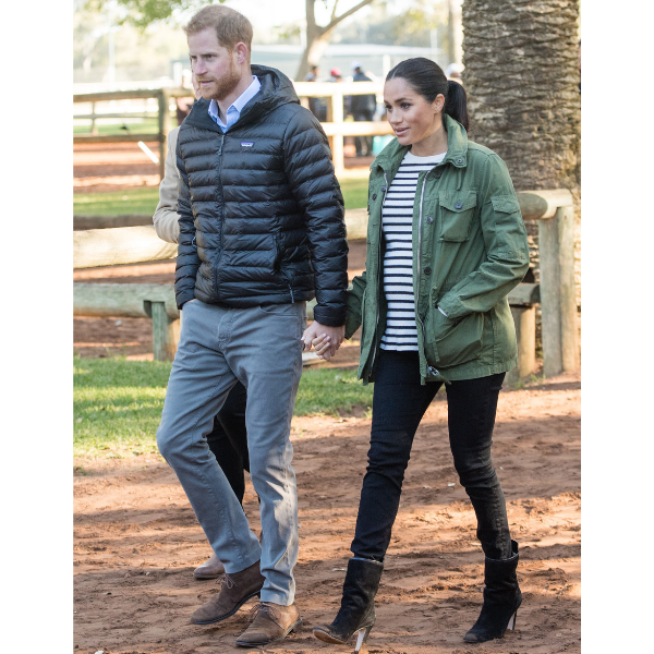 Meghan Markle Maternity Striped Shirt Green Jacket