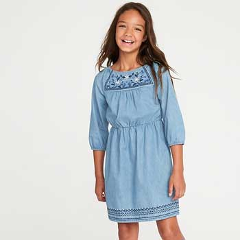 Old Navy Waist-Defined Embroidered Dress for Girls