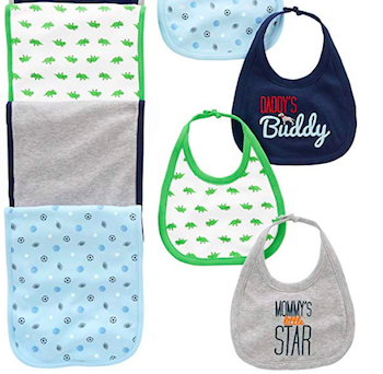 Simple Joys by Carter's Baby Boys' 8-Pack Burp Cloth and Bib Set