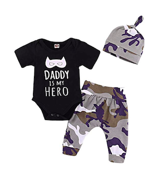 'Daddy Is My Hero' Unisex Camo Romper Set