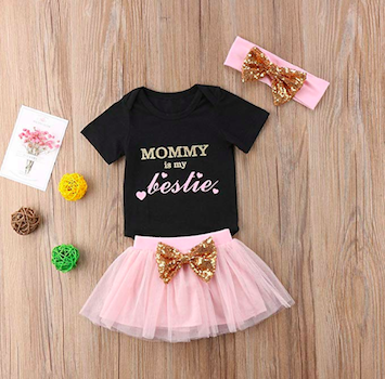 'Mommy Is My Bestie' Baby Girl Three-Piece Set