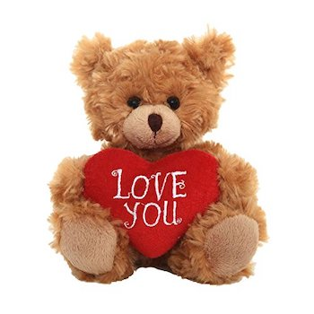 Best Valentine's Day Gift for Kids Who Love Stuffed Animals: Plushland Adorable Mocha Heart Bear with Valentine Heart Pillow