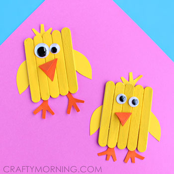easy easter crafts popsicle stick chick