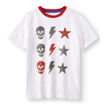 Wonder Nation Boys Sequin Short Sleeve Graphic Tee with Skulls, Lightning Bolts and Stars