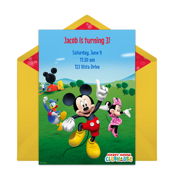 Mickey Mouse Club House Birthday Invitation