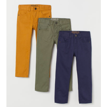 Kids Spring Fashion Trends H&M Boys 3-Pack Regular Fit Twill Pants