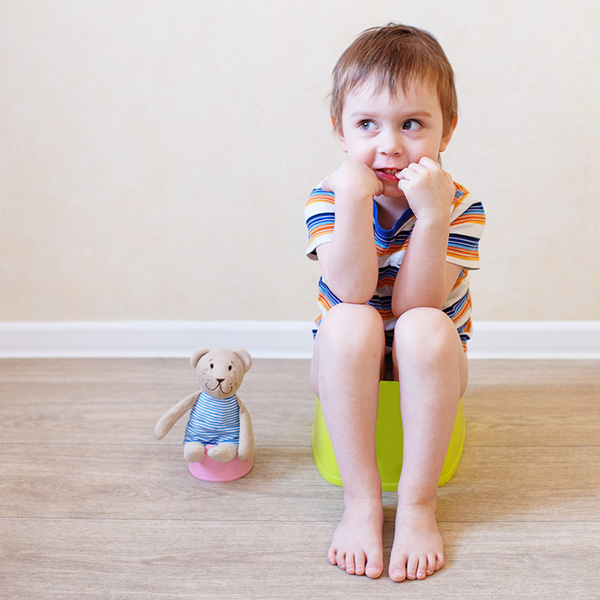Young boy sitting on a potty training chair