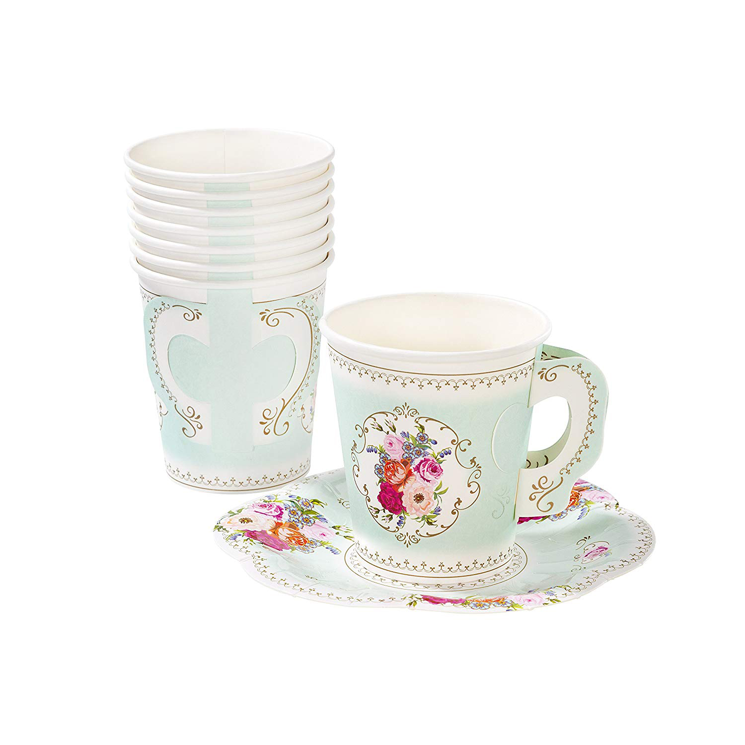 Floral Disposable Tea Cups