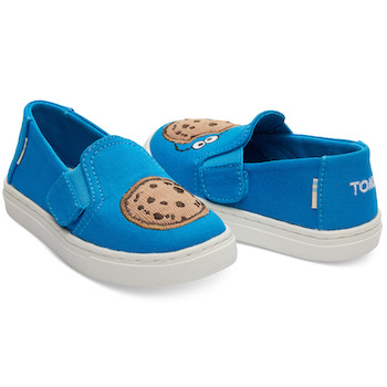 Sesame Street X TOMS Cookie Monster Applique Tiny Luca Slip-Ons